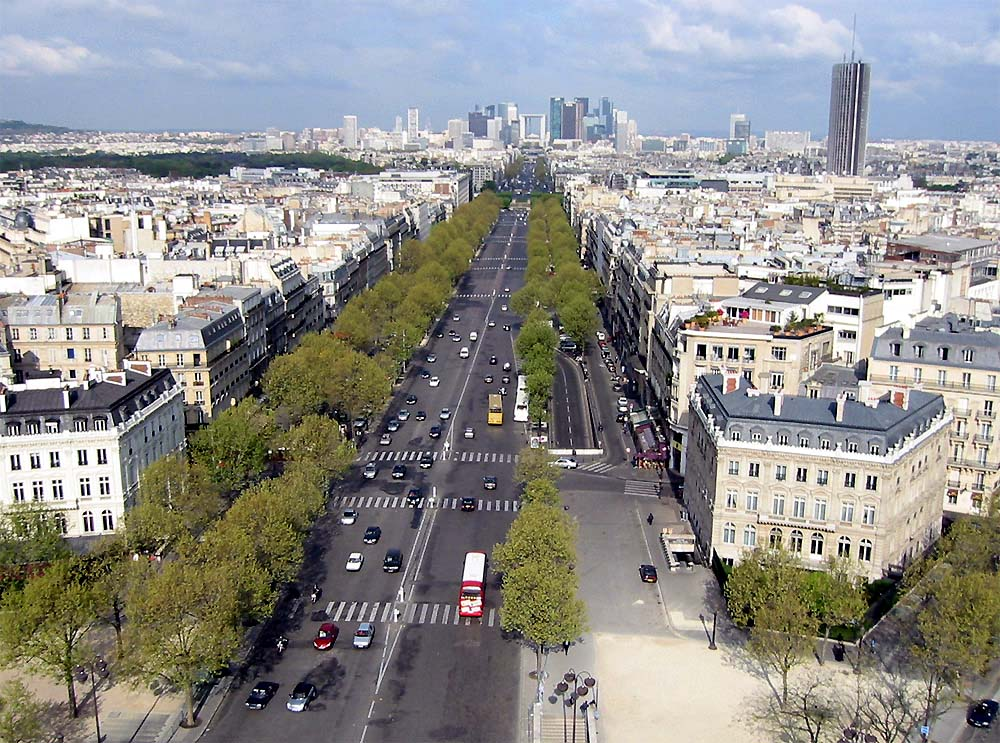 The streets of Paris, France as seen from the Arc de Triomphe. Photo by: Luestling